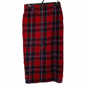 Catherines Red and Blue Plaid Midi Skirt